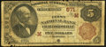 National Bank Notes:Indiana, Crawfordsville, IN - $5 1882 Brown Back Fr. 467 The First NB Ch. # (M)571. ...