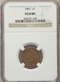 Indian Cents: , 1867 1C VG8 NGC. NGC Census: (21/642). PCGS Population (11/690). Mintage: 9,821,000. Numismedia Wsl. Price for problem free...