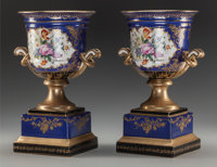 A Pair of Sèvres-Style Porcelain Urns on Bases, 20th century Marks: (pseudo Sèvres marks to undersides) 13...