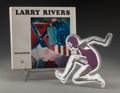 Sculpture, Larry Rivers (American, 1925-2002). Swimmer, circa 1970. Plexiglass, foil, silkscreen. 9-1/2 inches high x 9-1/2 inches ... (Total: 2 Items)