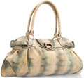 "Luxury Accessories:Accessories, Salvatore Ferragamo Beige & Gray Python Marisa Bag with GoldHardware. 16.5"" Width x 8"" Height x 4"" Depth, 7.5"" HandleDro..."