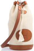 "Luxury Accessories:Accessories, Hermes White Crinoline & Fauve Barenia Leather Drawstring Bag.8"" Width x 17"" Height x 7"" Depth. Very Good toExcellen..."