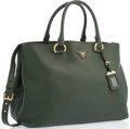 """Luxury Accessories:Accessories, Prada Green Leather Tote Bag with Gold Hardware. 14"""" Width x 10.5"""" Height x 7"""" Width, 7"""" Handle Drop. Excellent Condition..."""