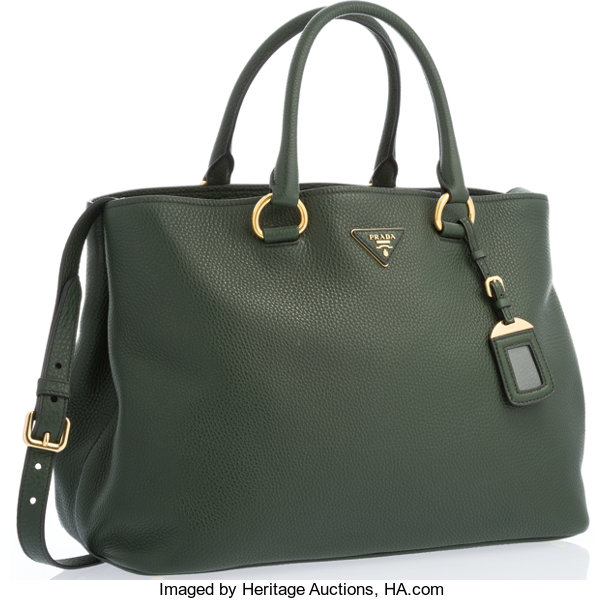 75f9955d436 Prada Green Leather Tote Bag with Gold Hardware. 14