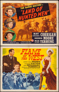 """Flame of the West & Others Lot (Monogram, 1945). Half Sheets (2) (22"""" X 28"""") & One Sheet (27&q..."""