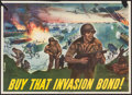 "Movie Posters:War, World War II Propaganda (U.S. Government Printing Office, 1944).Propaganda Poster (20"" X 28"") ""Buy That Invasion Bond!"" War..."