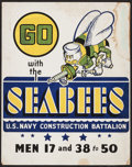 "Movie Posters:War, World War II Propaganda (WPA War Services Project, 1940s).Recruitment Poster (22"" X 28"") ""Go with the Seabees."" War.. ..."