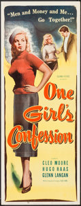 "Movie Posters:Bad Girl, One Girl's Confession (Columbia, 1953). Insert (14"" X 36""). BadGirl.. ..."