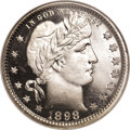 Proof Barber Quarters: , 1898 25C PR69 Ultra Cameo NGC. This white-on-black beauty is essentially perfect, since a pinpoint fleck above one of the a...