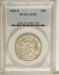 Walking Liberty Half Dollars: , 1923-S 50C AU55 PCGS. A still-lustrous piece that has lightreddish-gold toning over the surfaces. Minor wear is largely co...