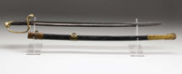 """Boyle & Gamble Foot Officer's Sword, 35"""" overall length, 29.5"""" blade. Open scrollwork on brass guard..."""
