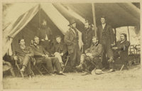 Photograph with General Grant and Staff Featuring Colonel Ely Parker. Parker, at right, a Seneca Indian, is quite rare i...