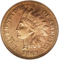 Proof Indian Cents: , 1869 1C PR65 Red Cameo PCGS. A well struck Gem with honey-gold and deep champagne-rose hues. Moderate contrast distinguishe...