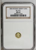 California Fractional Gold: , 1854 50C Liberty Round 50 Cents, BG-431, Low R.5, MS62 NGC. NGCCensus: (1/0). PCGS Population (12/15). (#10467)...
