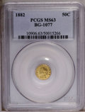 California Fractional Gold: , 1882 50C Indian Round 50 Cents, BG-1077, High R.6, MS63 PCGS. PCGSPopulation (4/0). NGC Census: (1/0). (#10906)...