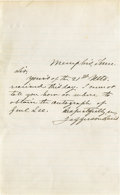 Autographs:Statesmen, Handwritten Note Signed By Jefferson Davis. This handwritten notewritten in Memphis, Tennessee by Jefferson Davis informs a...