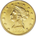 Liberty Eagles: , 1854-O $10 Large Date AU53 PCGS. While the Large Date variety ofthis issue has a lower overall population than the Small D...