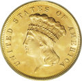Three Dollar Gold Pieces: , 1868 $3 MS65 PCGS. This is a highly appealing Gem, one of thefinest survivors from a mintage of just 4,850 coins. Although...