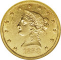 Liberty Eagles: , 1858-S $10 AU55 NGC. Bright luster connects many of the obversestars, and the reverse border has an unbroken band of perip...