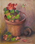 Texas:Early Texas Art - Regionalists, FRANK GERVASI (1895-1986). Still Life with Geraniums. Oil oncanvas. 14in. x 11in.. Signed lower right. Frank Gervasi ...