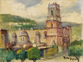 Texas:Early Texas Art - Impressionists, ROLLA TAYLOR (1871-1970). Untitled Mexican Cathedral. Oil oncanvasboard. 12in. x 16in.. Signed lower right. Rolla Taylor ...