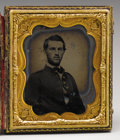 Photography:Ambrotypes, Massachusetts Civil War Soldier 1/6th Plate Cased Ambrotype. ThisUnion soldier, although unidentified as an individual, is ...