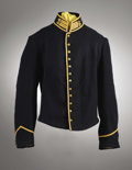 Military & Patriotic:Civil War, Union Cavalry 12 Button Shell Jacket. It is fairly large in size with no lining except in the sleeves. Yellow taping is brig...