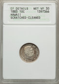 Coins of Hawaii: , 1883 10C Hawaii Ten Cents -- Cleaned, Scratched -- ANACS. XFDetails Net VF30. NGC Census: (40/374). PCGS Population (57/57...