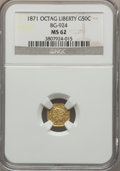 California Fractional Gold: , 1871 50C Liberty Octagonal 50 Cents, BG-924, R.3, MS62 NGC. NGCCensus: (12/5). PCGS Population (73/60). ...
