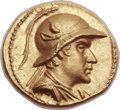 Ancients:Greek, Ancients: GRECO-BACTRIAN KINGDOM. Eucratides I the Great (ca. 171-145 BC). AV stater (20mm, 8.51 gm, 11h)....