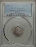 Early Half Dimes, 1795 H10C V-4, LM-10, R.3, -- Damage -- PCGS Genuine. AG Details....