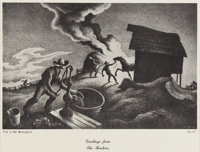 THOMAS HART BENTON (American 1889 - 1975) Fire In The Barnyard Lithograph reproduction 8.5 x 13.25in. (Image size) T
