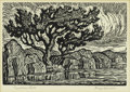 Prints:American, BIRGER SANDZEN (American 1871- 1954). Sunshine Lake.Lithograph on paper. 6 x 9in. (image size). Plate initials lowerle...