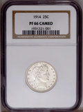 Proof Barber Quarters: , 1914 25C PR66 Cameo NGC. Not only does the 1914 quarter boast the lowest proof mintage of any Barber quarter (380 pieces), ...