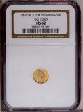 California Fractional Gold: , 1872 50C Indian Round 50 Cents, BG-1048, Low R.4, MS62NGC. PCGSPopulation (20/58). (#10877)...