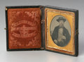 Photography :Daguerreotype, A DAGUERREOTYPE IN CASE. The black impressed case with latch, opensto a cloth lining reading BARTLETT DAGUERREOTYPIST 2...