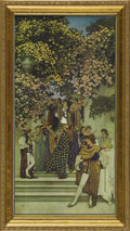 Prints:American, MAXFIELD PARRISH (American 1870 - 1966). Ladies' Home JournalCover in color, 'A Call to Joy', Christmas, 1912. From the...