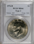 Eisenhower Dollars: , 1976-D $1 Type Two MS66 PCGS. PCGS Population (666/22). NGC Census: (212/9). Mintage: 82,179,568. Numismedia Wsl. Price for...