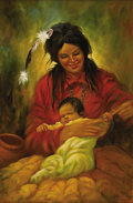 """Fine Art - Painting, American:Contemporary   (1950 to present)  , HAROLD """"HAL"""" WATT (American 1925 - ). Untitled (Mother AndChild). Oil on board. 36 x 24in.. Signed lower right. ..."""