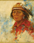 "Fine Art - Painting, American:Contemporary   (1950 to present)  , HAROLD ""HAL"" WATT (American 1925 - ). Untitled (Indian Man).Oil on board. 20 x 16in.. Signed lower right. ..."