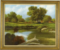 Fine Art - Painting, American:Contemporary   (1950 to present)  , GEORGE KOVACH (American Late 20th Century). CountryLandscape, 1974. Oil on canvas. 24 x 30in.. Signed and datedlower r...
