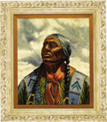 Fine Art - Painting, American:Contemporary   (1950 to present)  , THOMAS E. (REV) MAILS (American 1920-2001). Original Illustration.Loud Thunder - Omaha Indian, c.1970. Oil on board. 24...