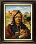 Fine Art - Painting, American:Contemporary   (1950 to present)  , AMERICAN SCHOOL. Pioneer Woman. Oil on canvas. 24 x 18in..Signed lower left (indecipherable). Titled to stretcher. ...