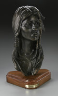 Bronze:American, DR. ROBERT TAYLOR (American Late 20th). Dream Weaver, 1978.Bronze on wood base. 12.57 x 7 x 6.25in.. Numbered: 2/5. Sig...