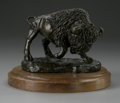 Bronze:American, LOVELL. Buffalo. Bronze on wooden pedestal. Signed andnumbered to base. Numbered 4/25. 4 x 4.5 x 4in.. ...