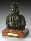 Bronze:American, JUAN DELL (American 1933 - ). Chief Joseph. Bronze on woodpedestal (Fenn bronze). 7 x 5.5 x 3.5in.. Numbered: 14/30. Si...