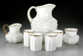 Art Glass:Other , A SET OF AMERICAN GUTATTE PATTERN MILK GLASS ITEMS... (7 Items)