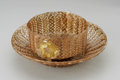 Art Glass:Other , TWO ITALIAN COPPER LATTICINIO GLASS BOWLS. Makers unknown, c.1930.The first, a footed and straight-sided cylindrical body... (Total:2 Items)