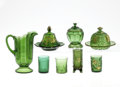 Art Glass:Other , ELEVEN PIECES OF AMERICAN GREEN GLASS. Various makers, c.1900.Comprising a Riverside 'Empress' pattern covered sugar; a R...(Total: 11 Items)