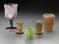 Art Glass:Other , FIVE AMERICAN PATTERN GLASS ITEMS. Makers unknown, c.1930.Comprising a 'diamond-point-and-panel' pattern goblet in purple...(Total: 5 Items)